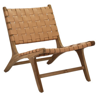 Day and Age Leather / teak Lounge Chair