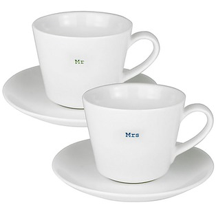 Day and Age Espresso Cups and Saucers - Mr and  Mrs